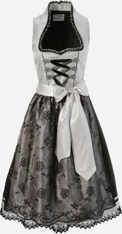 MARJO Dirndl midi midi midi mit Doppelschürze in schwarz   silber  Mode neue Kleidung 95385b