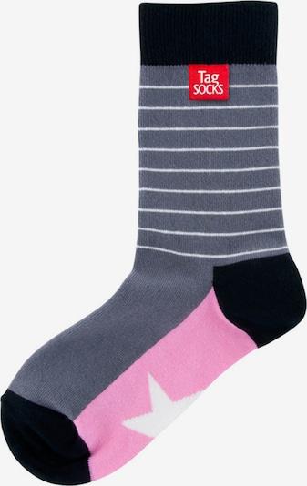 Tag SOCKS Socken 'Stars & Stripes' in taubenblau / pink / schwarz / weiß, Produktansicht