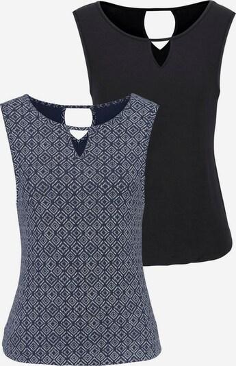 LASCANA Top in marine / schwarz / weiß, Produktansicht
