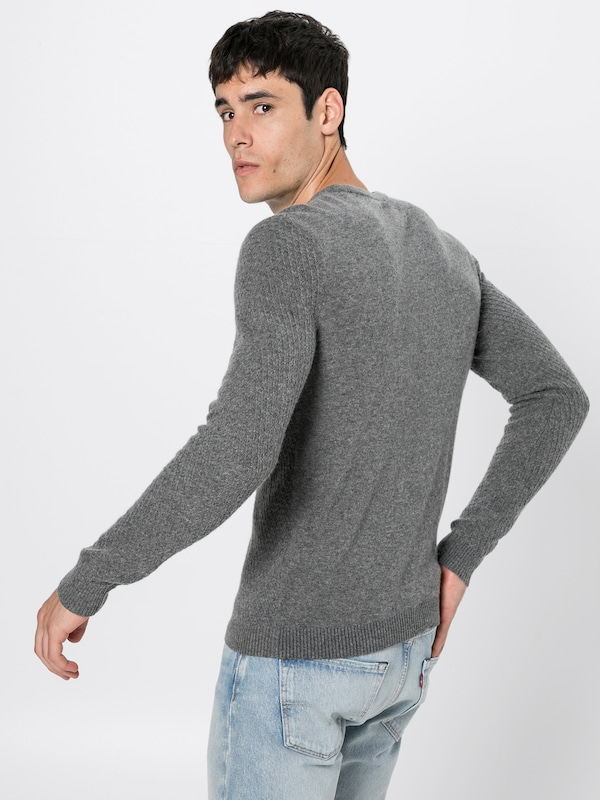 over 'fine Jumper' One Chiné Knit Pull Gris Argyle Pier En 8nmw0NvO