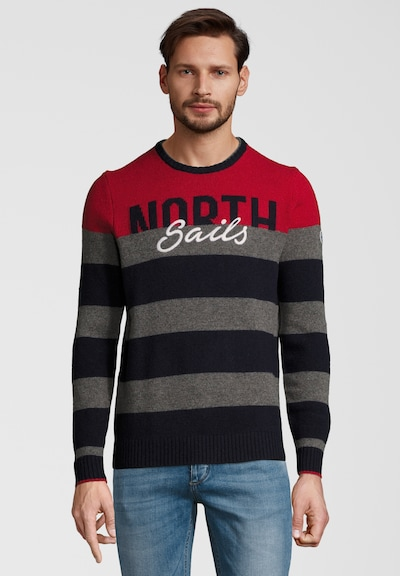 North Sails Strickpullover STRIPED ROUND NECK in navy / dunkelgrau / rot, Produktansicht