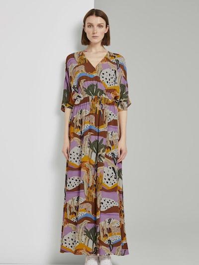 TOM TAILOR DENIM Kleid in grün / orange / pink / schwarz / weiß, Modelansicht