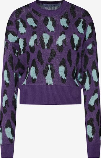 IVYREVEL Pullover 'BAT SLEEVE JAQUARD KNIT' in türkis / lila / schwarz, Produktansicht