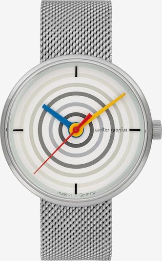 WALTER GROPIUS Uhr in grau / hellgrau / silber / naturweiß, Produktansicht