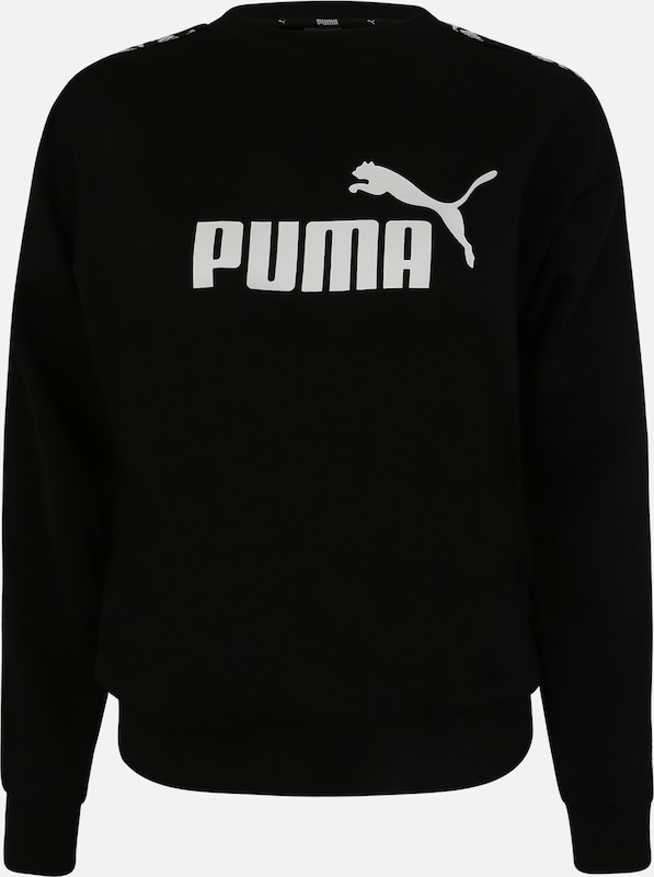 PUMA Sportief sweatshirt 'Amplified Crew Sweat' in de kleur Zwart / Wit, Productweergave