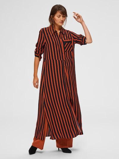 SELECTED FEMME Kleid in dunkelorange / schwarz, Modelansicht