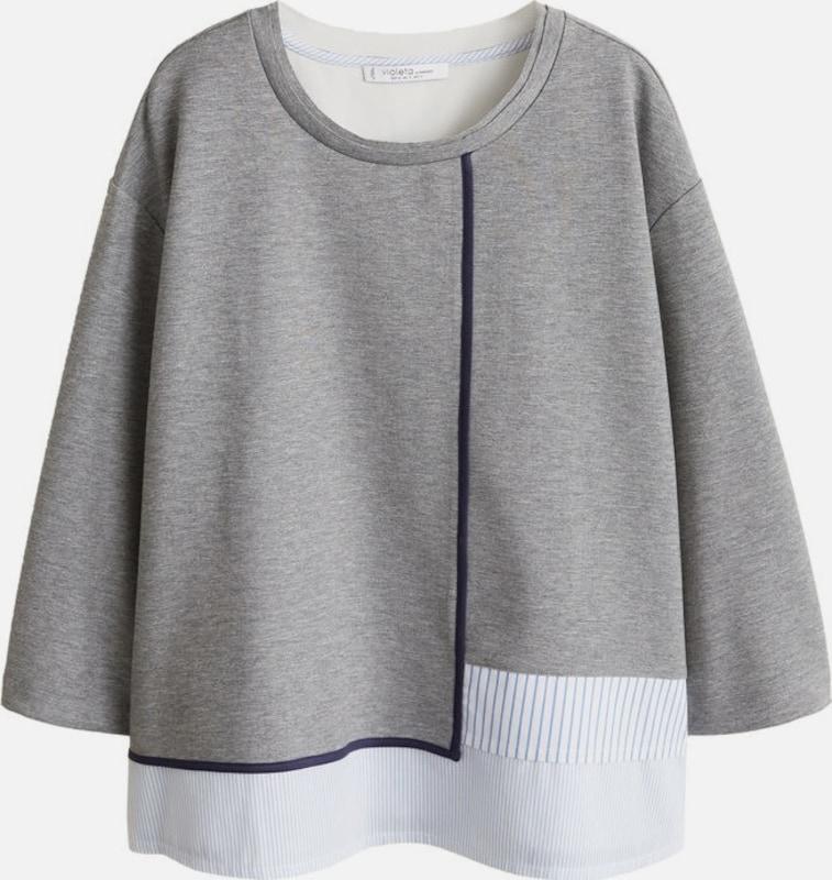 lilaA by Mango Sweatshirt 'Zinc' in hellblau   graumeliert   weiß  Freizeit, schlank, schlank