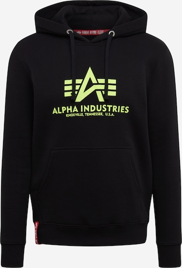 ALPHA INDUSTRIES Sweatshirt 'Basic Hoody Neon Print' in neongelb / schwarz, Produktansicht