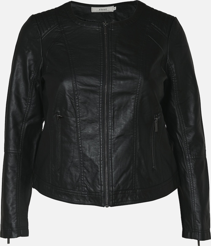 Zizzi Jacke 'Imitated leather jacket' in schwarz  Markenkleidung für Männer und Frauen