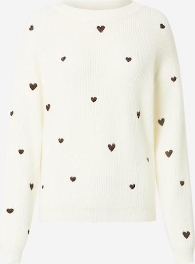 Fabienne Chapot Pull-over 'Disco Heart' en marron / blanc, Vue avec produit