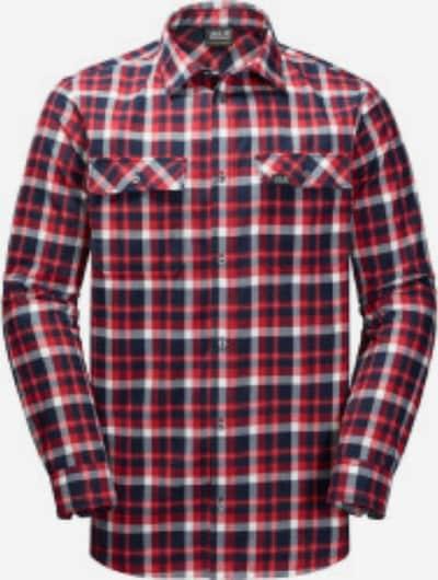 JACK WOLFSKIN Hemd 'Bow Valley' in navy / rot / weiß, Produktansicht