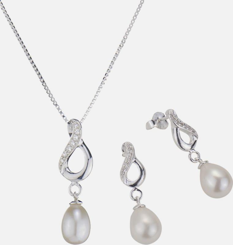 FIRETTI firetti Schmuckset: Halskette und Ohrstecker mit Perle und funkelnden Kristallsteinen (Set 4tlg.)