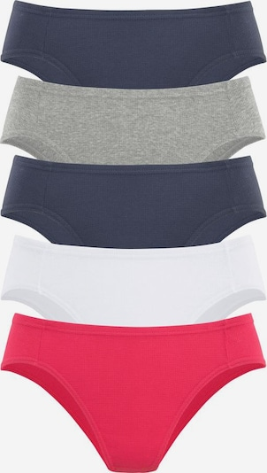 PETITE FLEUR Bikinislip (5 Stck.) in marine / grau / rot / weiß, Produktansicht