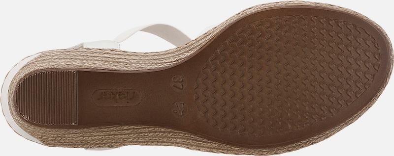 RIEKER Keilsandaletten mit Blütenapplikationen Verschleißfeste billige Schuhe
