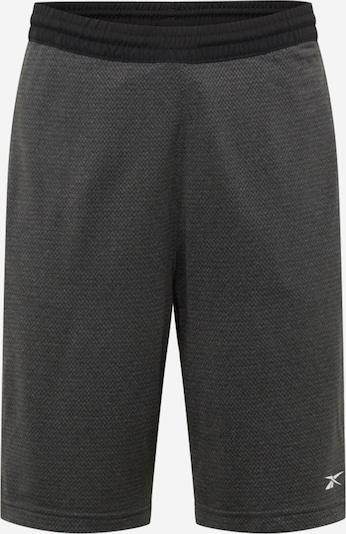 REEBOK Sportske hlače u crna / crna melange / bijela, Pregled proizvoda
