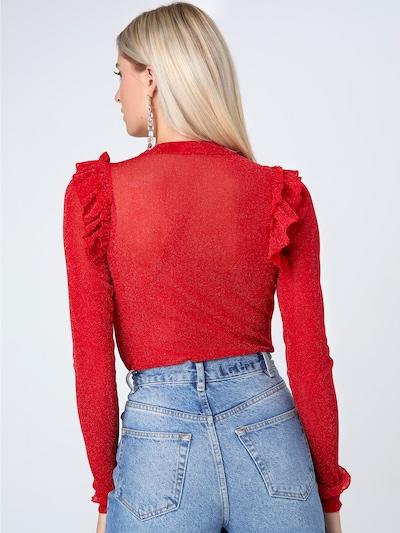 LeGer by Lena Gercke Lurex-Shirt 'Inga' in rot: Rückansicht