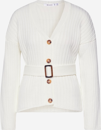 Missguided Strickjacke 'Belted Buttoned Cardigan' in creme, Produktansicht