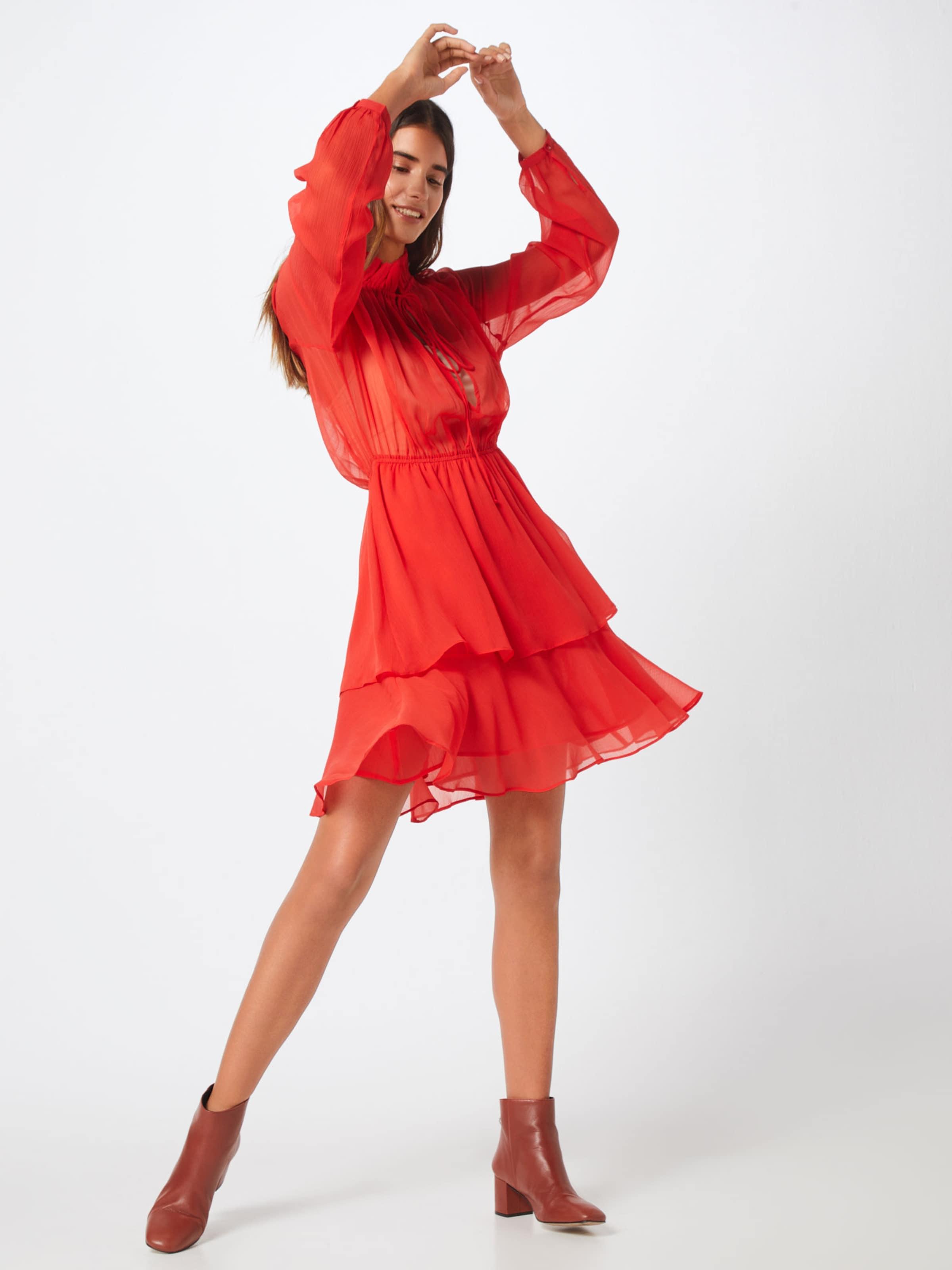 7149dff5a37c69 In Na kd  high Jurk Neck Dress  Rood Frill c54R3ALqSj