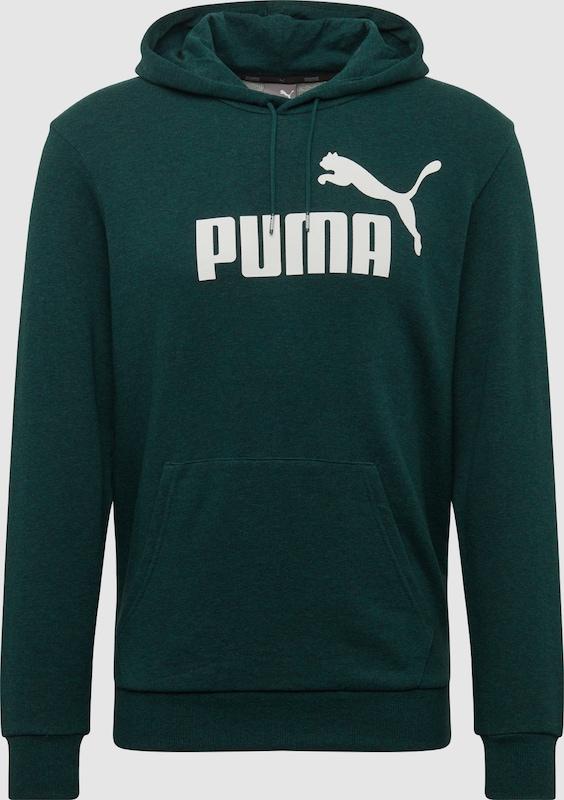 PUMA Sweatshirts  'ESS+ Hoody TR' in dunkelgrün   weiß  Neuer Aktionsrabatt