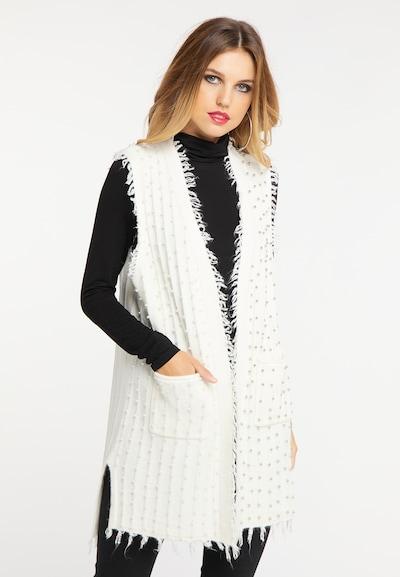 faina Strickweste in weiß, Modelansicht