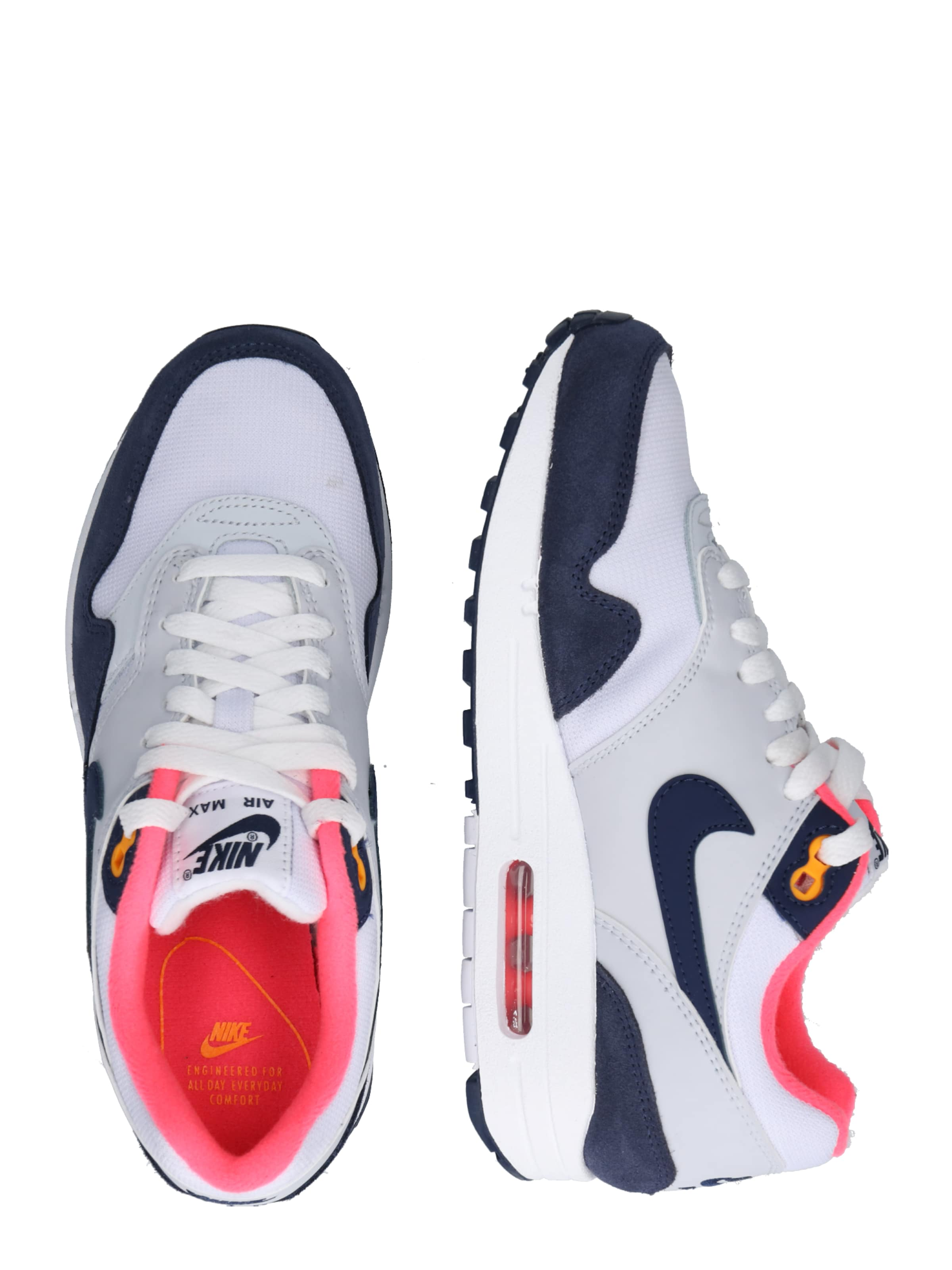 Weiß 1' Sportswear 'air Max In Nike Sneaker NavyHellgrau Pink 35AR4jL
