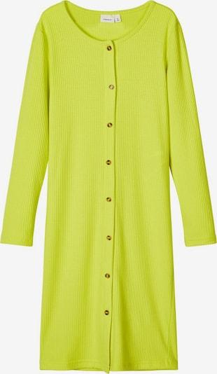 NAME IT Langärmeliges geripptes Kleid in gelb, Produktansicht