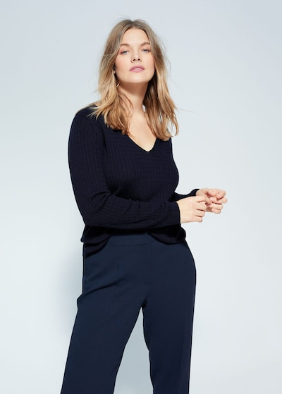 VIOLETA by Mango Pullover 'Cable' in navy: Frontalansicht