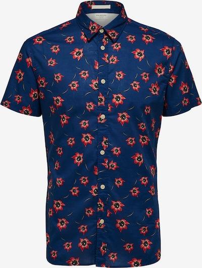 SELECTED HOMME Cuban Collar Kurzarmhemd in blau, Produktansicht