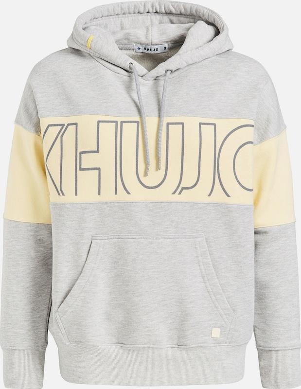 Khujo Sweatshirt 'Heather' in pastellgelb   hellgrau  Große Preissenkung