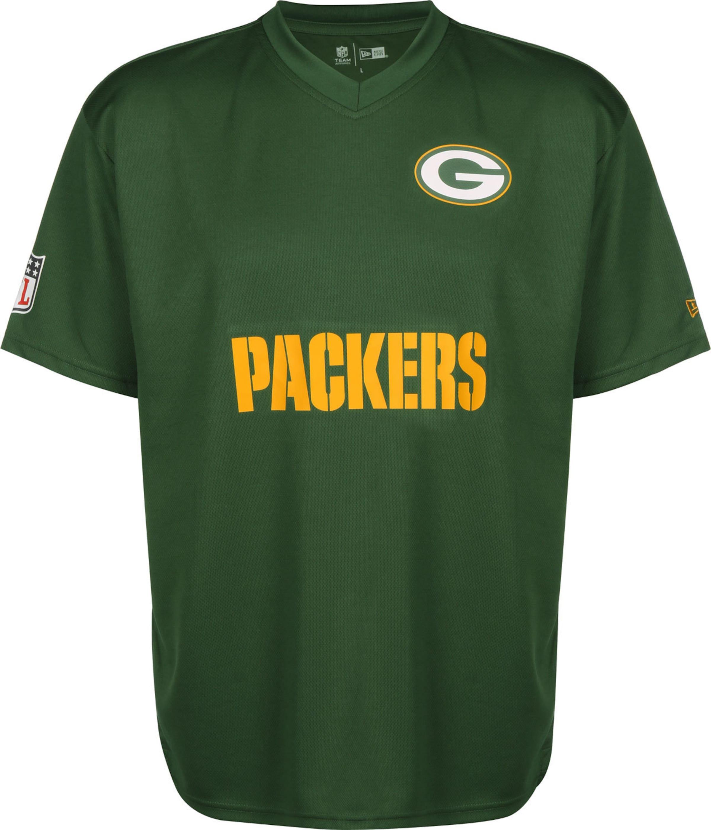 NEW ERA T-Shirt ' NFL Wordmark Oversized Green Bay Packers ' in grün V-Ausschnitt KT75392011