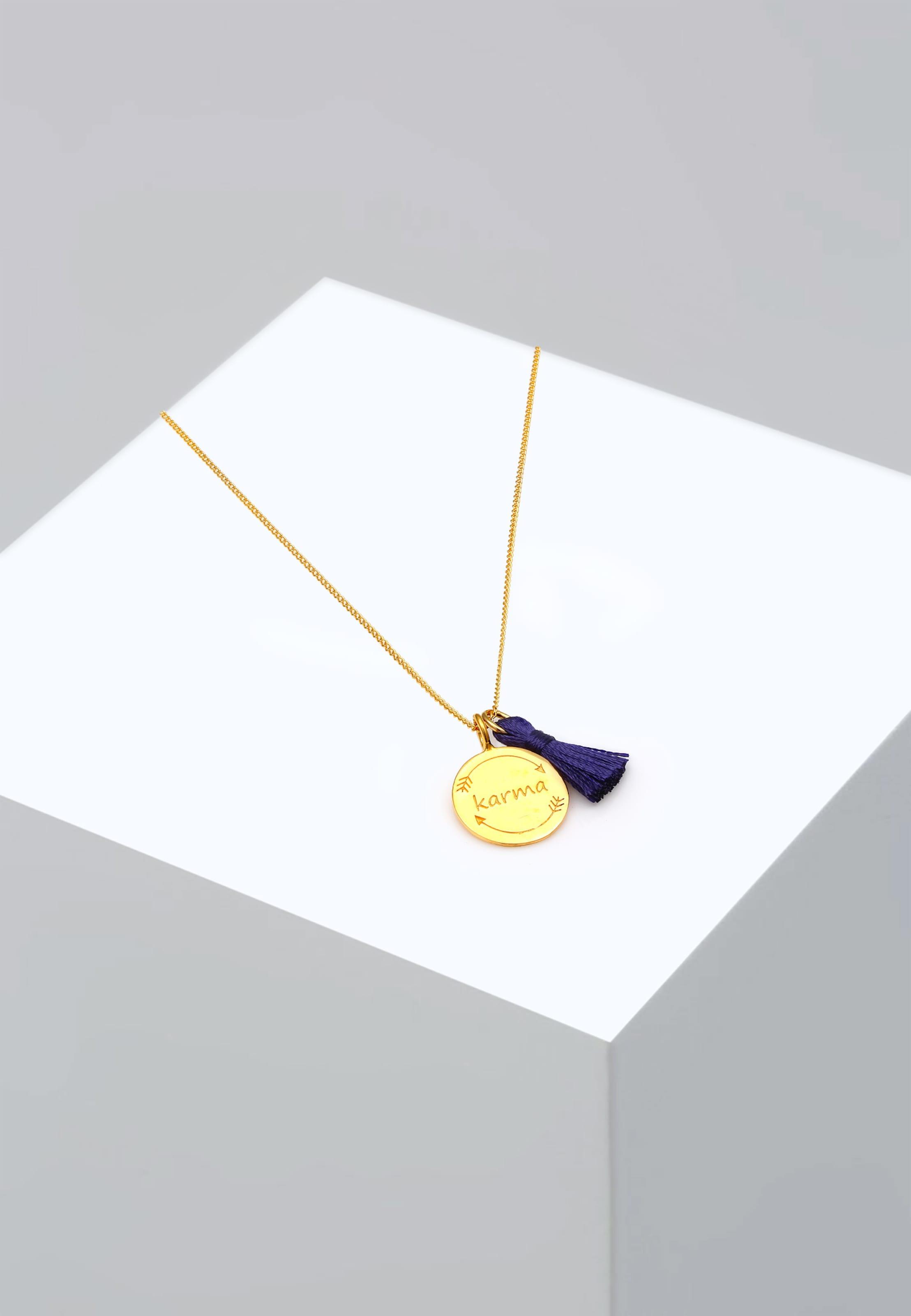 Halskette In Elli Halskette DunkelblauGold 'karmaTassel' Elli wOkXliPTuZ
