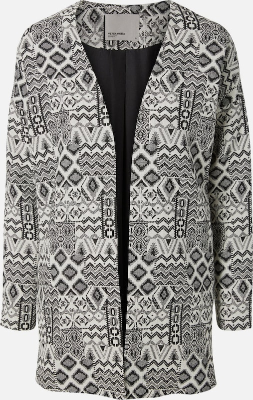 VERO MODA Langer, bedruckter Blazer in grau   weiß  Markenkleidung für Männer und Frauen