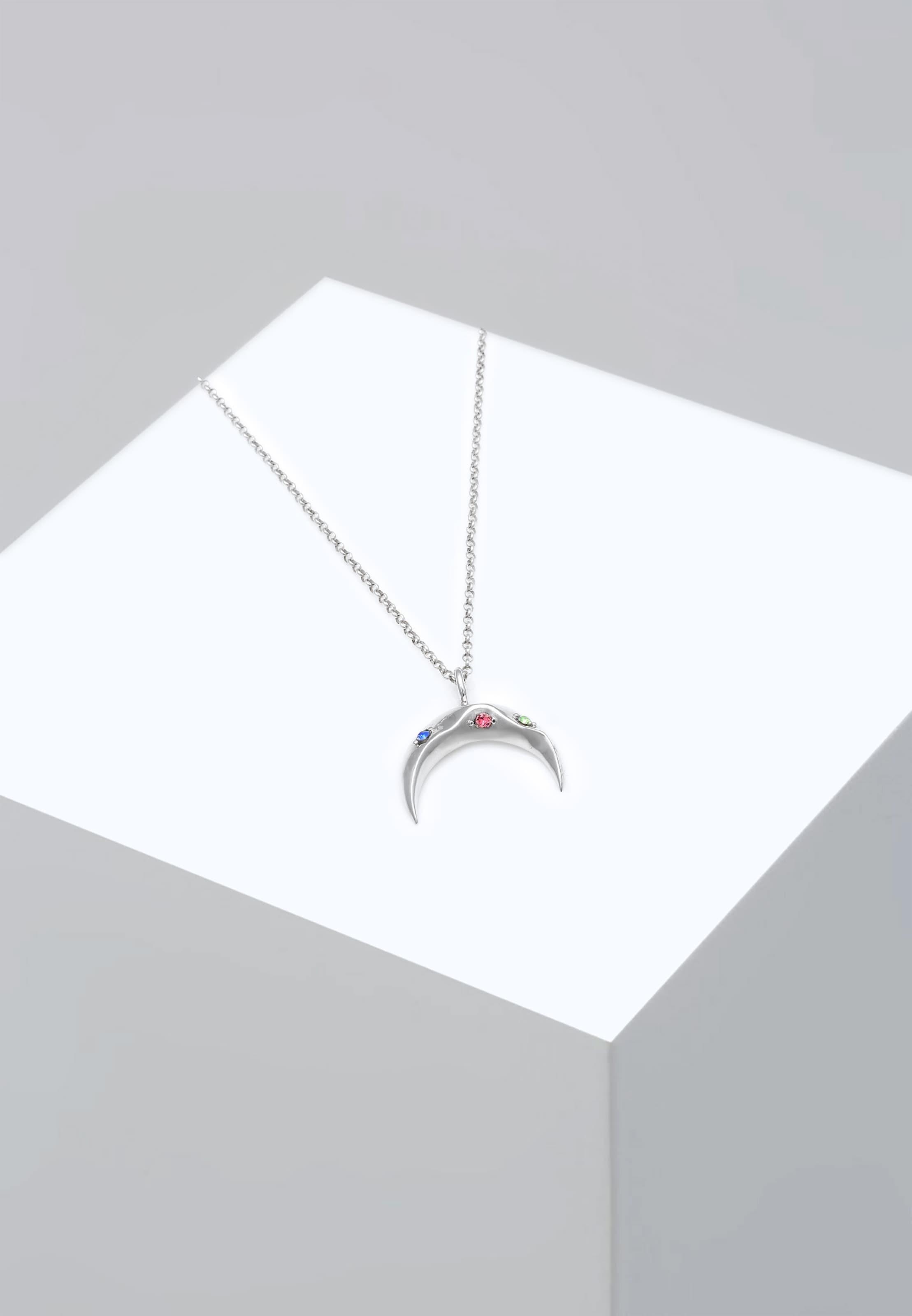 Halskette Silber Rosa Elli In HimmelblauLimette 'halbmond' Y76bfyvg