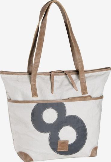 360 Grad Handtasche ' Deern Leder ' in braun / weiß, Produktansicht