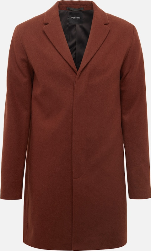 SELECTED HOMME Mantel 'SLHBROVE WOOL COAT B' in karamell, Produktansicht