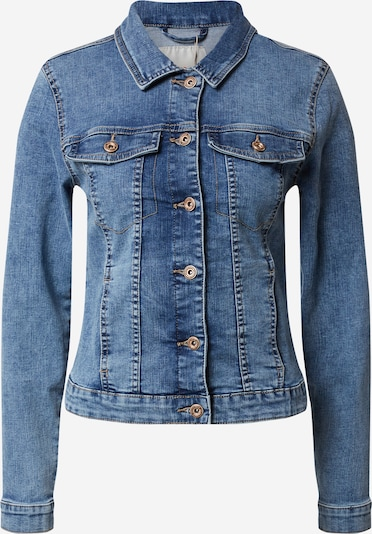 PIECES Jeansjacke 'PCAIA FITTED LS DNM JACKET LB/BLC BOX BC' in blau, Produktansicht