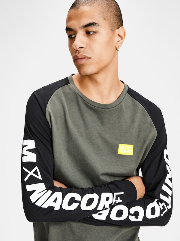 JACK & JONES Grafik T-Shirt mit langen Ärmeln