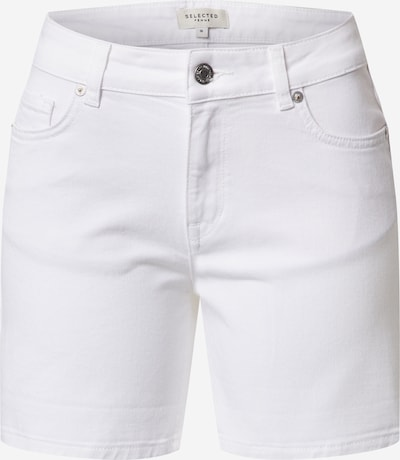 SELECTED FEMME Jeans 'SLFSILLA MW WHITE DENIM FOLD UP SHORTS W' in de kleur White denim, Productweergave