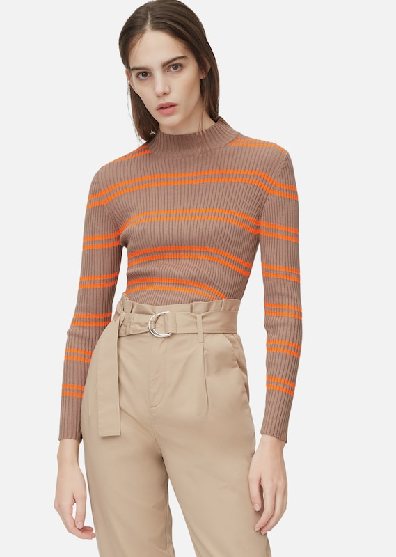 Marc O'Polo DENIM Pullover in taupe / orange, Modelansicht