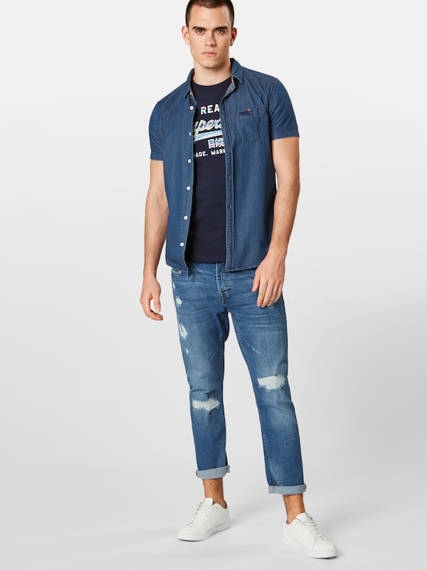 Superdry Chemise En Loom Bleu Denim 'miami Shirt' hrdQst