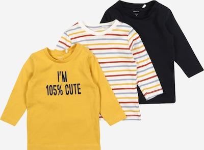 NAME IT Shirt 'NADIM' in rauchblau / senf / weinrot / schwarz / weiß, Produktansicht