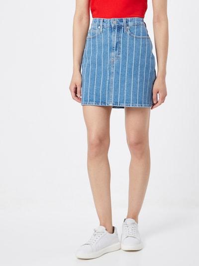 Calvin Klein Jeans Rock in blue denim / weiß, Modelansicht