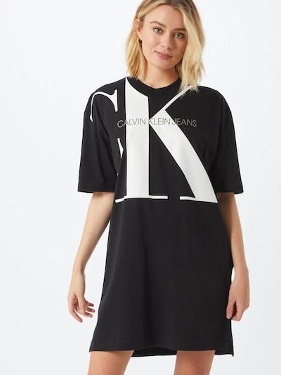 Calvin Klein Jeans Kleid 'T-Shirt' in schwarz / weiß, Modelansicht