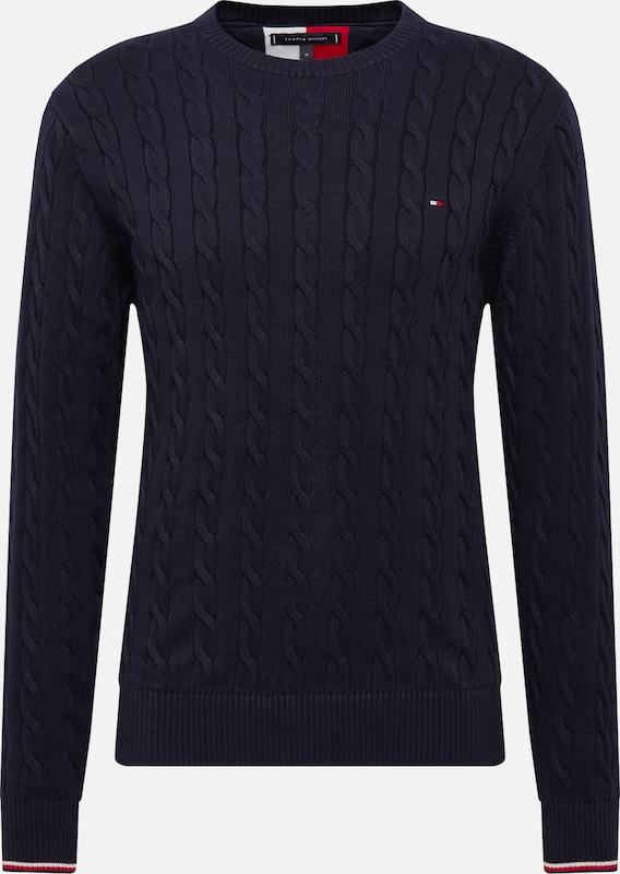 TOMMY HILFIGER Trui 'ORGANIC COTTON CABLE CREW NECK' in de kleur Donkerblauw, Productweergave