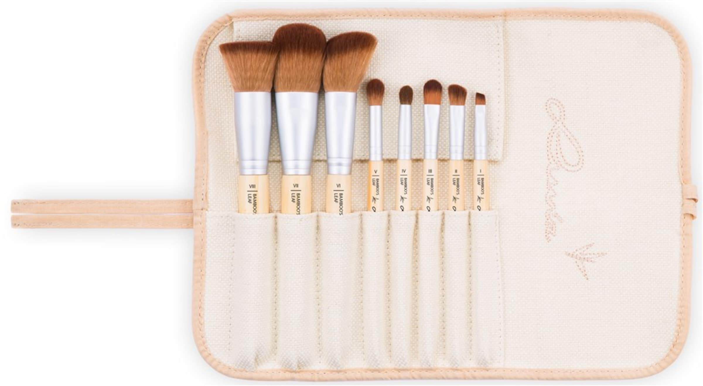 Leaf' Aufbewahrungstasche 8 Kosmetikpinsel und Pinseln Veganes mit Cosmetics Set 'Bamboo's Luvia gxwp0Eqvn