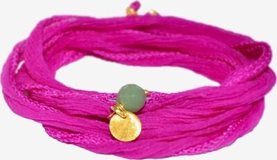 YOGISTAR.COM Wickel-Armband 'Mychakra' in gold / fuchsia, Produktansicht