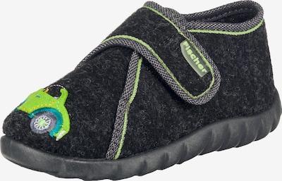 Fischer-Markenschuh Hausschuhe in neongrün / schwarz, Produktansicht