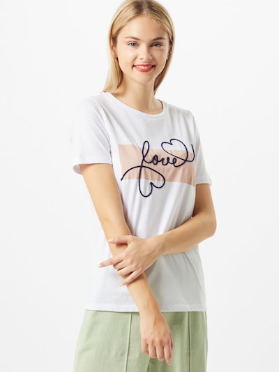 tengerészkék / fáradt rózsaszín / fehér VILA Póló 'Juline Love': Elölnézet