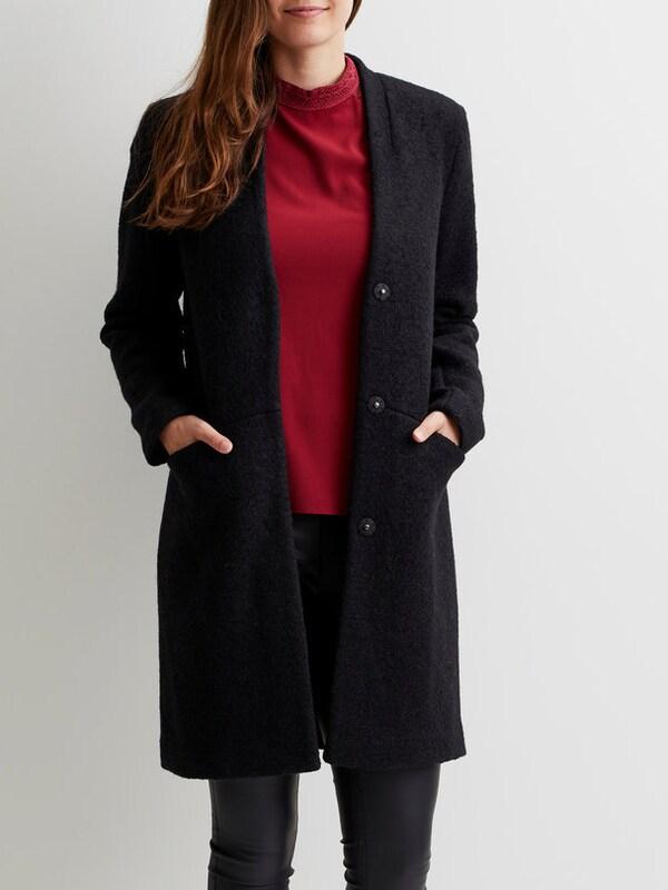 vila woll mantel 39 vitea wool boucle jacket 39 in schwarz about you. Black Bedroom Furniture Sets. Home Design Ideas