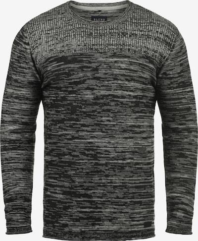 BLEND Rundhalspullover 'Lino' in grau / schwarz: Frontalansicht